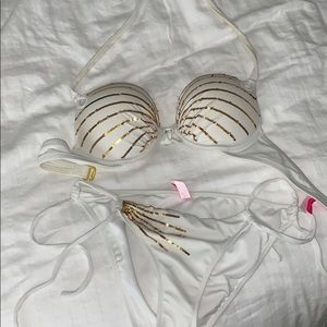 Victoria's Secret gold sequence white bikini